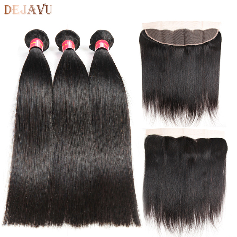 Dejavu 13x4 Frontal With Bundles Peruvian Straight Human Hair Bundles With Frontal Closure Non Remy Hair Lace Frontal Closure