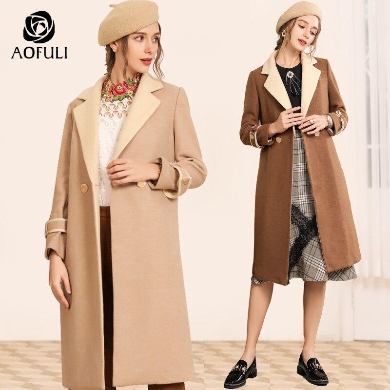 AOFULI Fashion Contrast Women Long Coat Belt Turn down Collar Winter X long Tops Woolen Overcoat