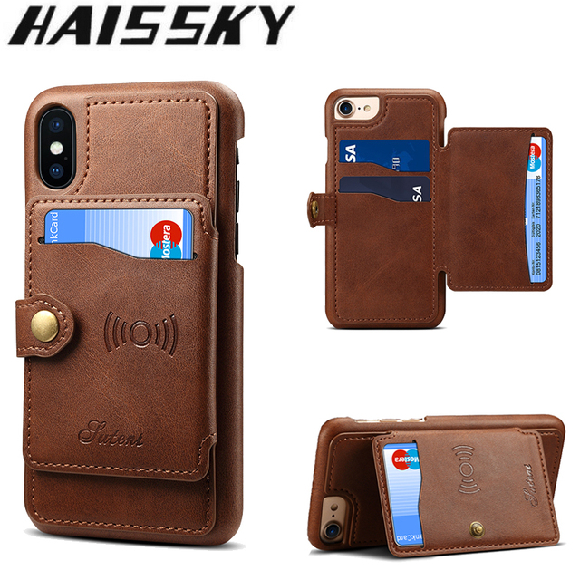 low priced b52be 31194 US $8.47 31% OFF|Haissky Leather Case For iPhone X 8 7 6 6S Plus Case Card  Holder Wallet Magnetic Flip Cover For iPhone 6 8 7 Plus Car Phone Case-in  ...