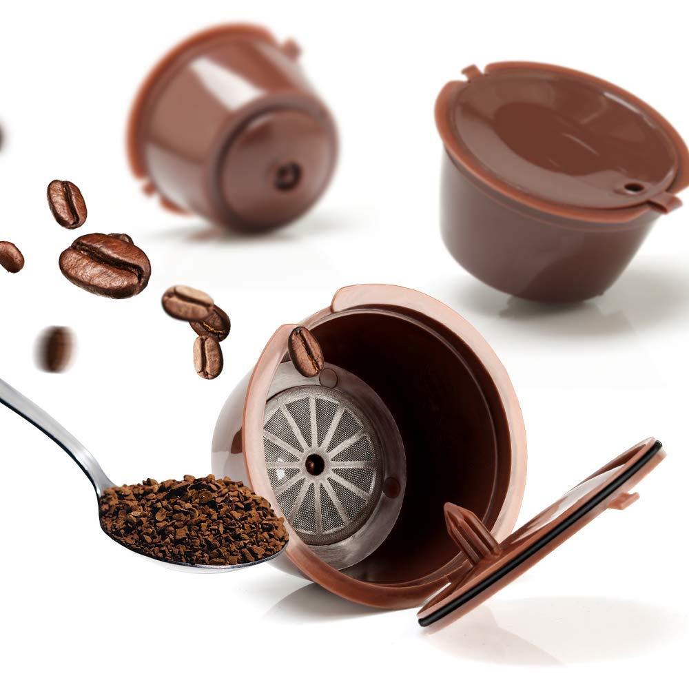 VOGVIGO Coffee Capsule Filter Cup 3 pcs Reusable Nescafe Dolce Gusto Refillable Caps Spoon Brush Filter Baskets Pod Soft