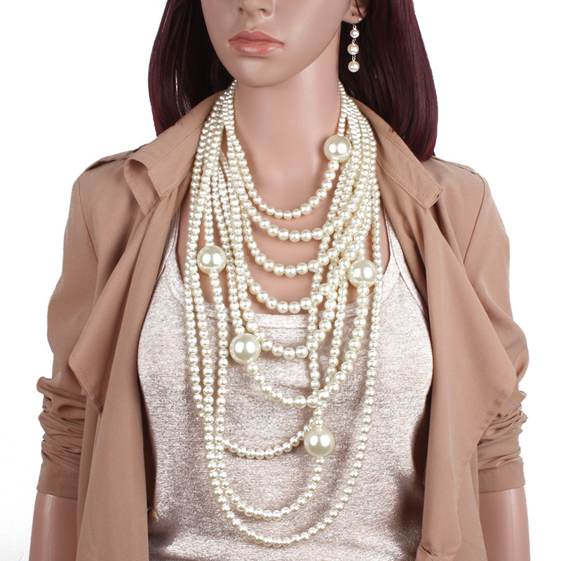 FY Chain Jewelry Pearl Necklace United-States Long-Sweater Exaggeration Multi-Layer Fashion