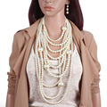 FY Europe and the United States fashion exaggeration multi-layer pearl necklace long sweater chain jewelry
