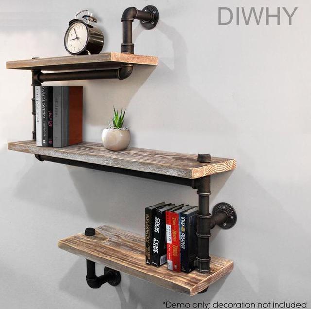 Wall Mounted Rustic Urban Iron Pipe Shelf 4 Tiers Wooden Board Shelving Home Restaurant