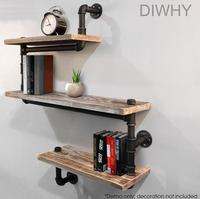 Wall Mounted Industrial Rustic Urban Iron Pipe Wall Shelf 4 Tiers Wooden Board Shelving Home Restaurant kitchen Bar Shop Decor