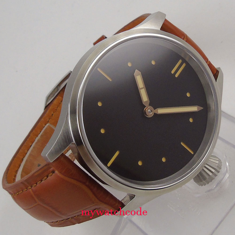 brushed case parnis 43m black dial sapphire crystal sea-gull hand winding 6497 mens watch 44mm parnis black dial super luminous sea gull 3600 stainless steel case hand winding 6497 mechanical mens watch
