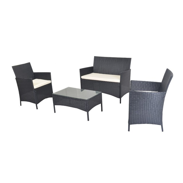 Compact 4pcs White Cushioned Outdoor Patio Furniture PE Rattan Wicker Set  Black - Compact 4pcs White Cushioned Outdoor Patio Furniture PE Rattan