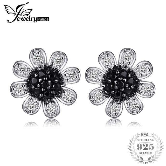 JewelryPalace Flower Black Spinel Stud Earrings Genuine 925 Sterling Silver Tren