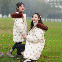 Mother and Daughter Clothes for 2018 Winter Family Matching Coats Girls Jacket Embroidery Flamingo Women Coat Fur Collar Warm
