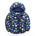 Kids Winter New 2016 High-Quality Fiber Fabric With Hoodedr Cartoon Dinosaur Printing Boy Girl Thick Warm Warm Down Coat 2 Color