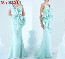 2019 Mermaid Evening Dress One Shoulder Embroidery Ruffles Ruched Party Glamorous Dubai Fashion Floor Length Prom