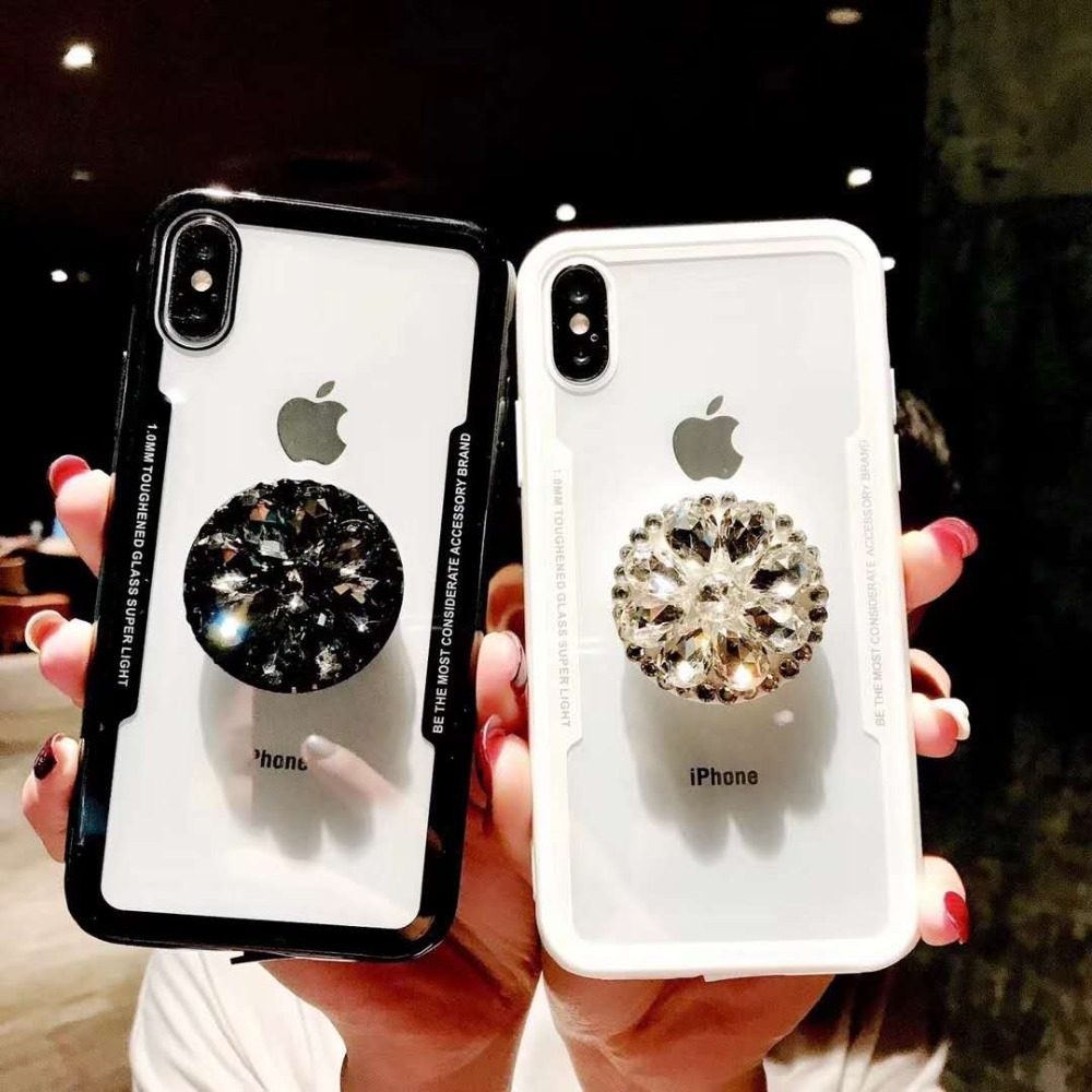 NEW Glitter Jewelled Air Bag Cell phone Bracket Acrylic Case For iPhone Xs  XR Xs Max ebc83714ba90