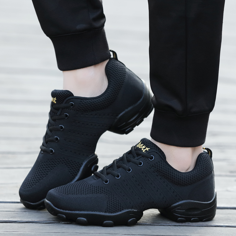 POLALI Mesh Jazz Shoes Men's Modern Soft Outsole Dance Sneakers Breathable Dancing Fitness Training Shoes