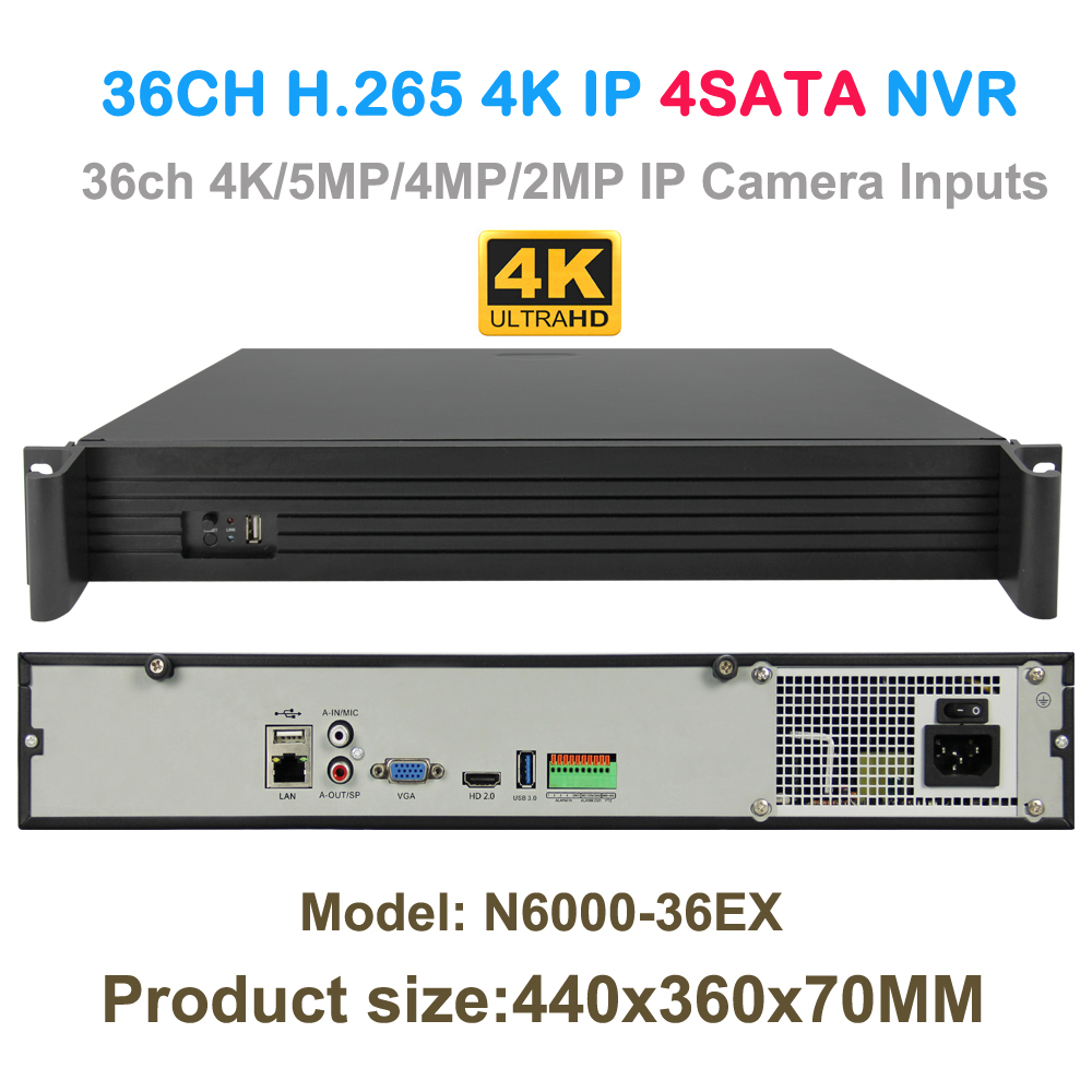 36CH 4K/5MP/3MP/2MP IP Camera Recorder H.265 Security HDMI VGA NVR 4SATA Onvif Audio input Motion Detect Email Alert Function