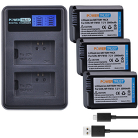 3Pcs 2000mAh NP FW50 NP FW50 Batteries LCD USB Dual Charger For Sony Alpha A6500 A6300