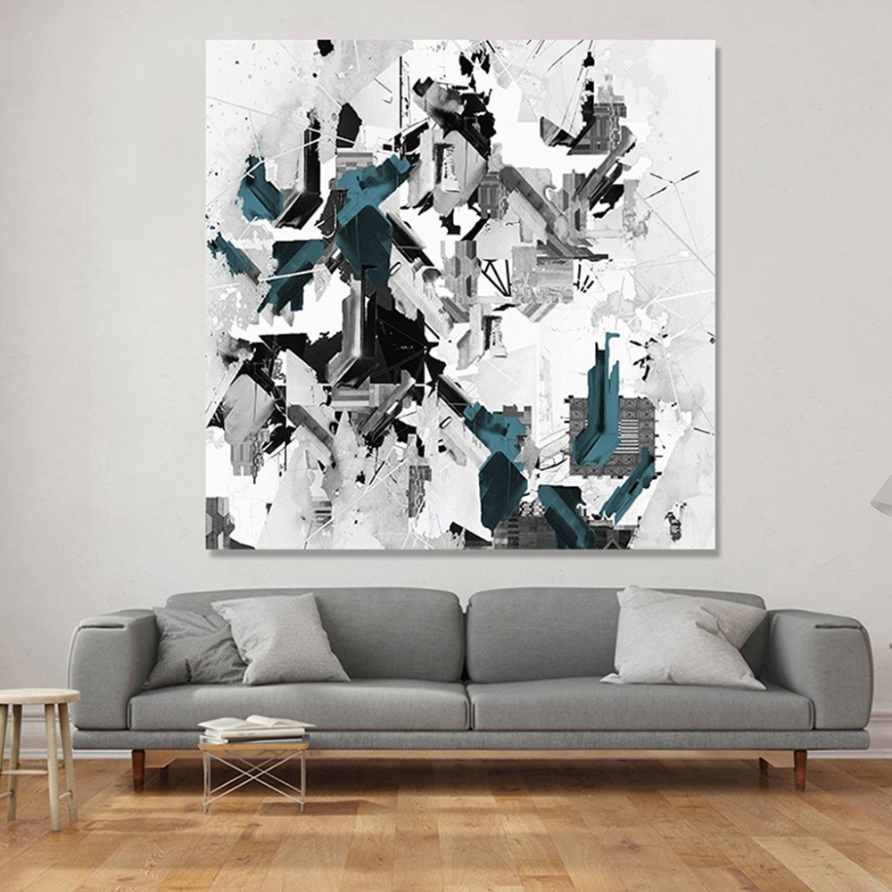 Us 3 17 40 offnordic abstract graffiti canvas painting simple gray blue ink decorative poster black and white wall art picture for home decor in