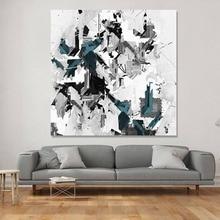 Nordic abstract graffiti canvas schilderij eenvoudige grijze blauwe inkt decoratieve poster zwart-wit kunst aan de muur foto voor home decor