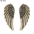 2017 2 colors Crystal Fashion bronze vintage Statement Crystal Angel Wing Stud Earrings for Women gift Birthday boho jewelry