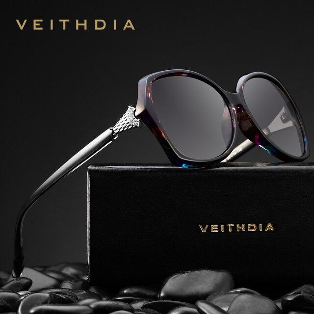 VEITHDIA רטרו נשים משקפיים שמש מקוטב יוקרה קריסטל גבירותיי מותג מעצב משקפי שמש Eyewear לנשים נשי V3027
