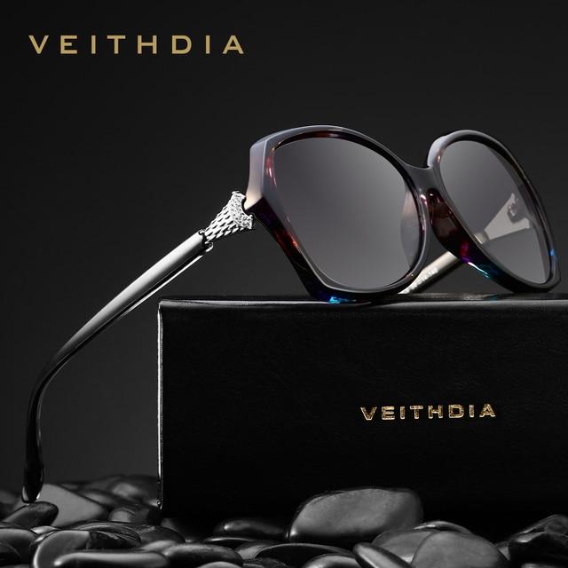 Veithdia óculos de sol feminino polarizado, óculos de sol retrô feminino, polarizado, de luxo, com cristal v3027