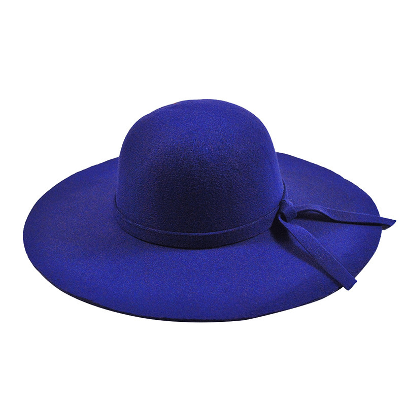 266f8f6c9fc YIFEI New Pillbox Hat Women Wide Brim Felt Bowler Fedora Hat Floppy Sun  Bowknot Cloche Cap Women s Large Hat 10 Colors outdoor-in Fedoras from  Apparel ...