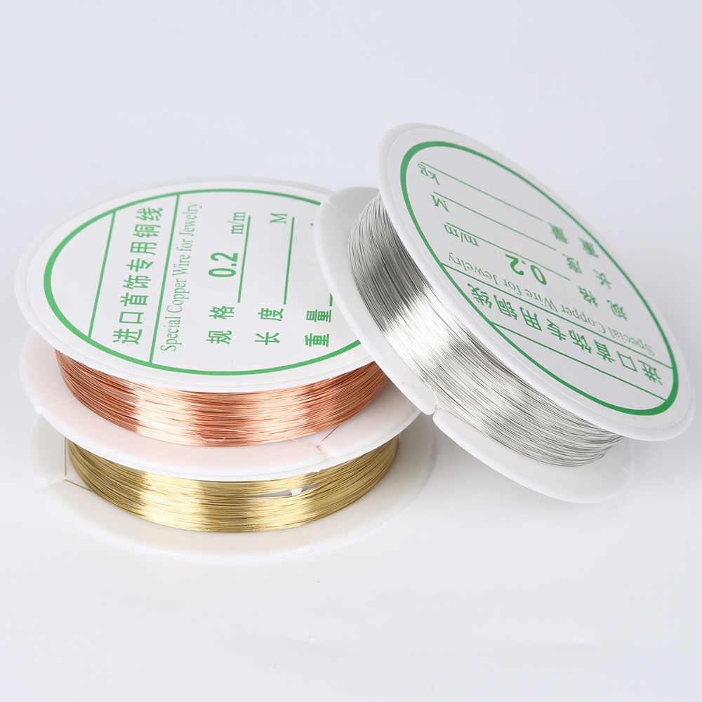 0.2/0.25/0.3/0.4/0.5/0.6/0.8/1mm złoty srebrny kolorowy ze stopu przewód żyłka do nawlekania koralików DIY Craft Making sznurek do biżuterii ciąg akcesoria
