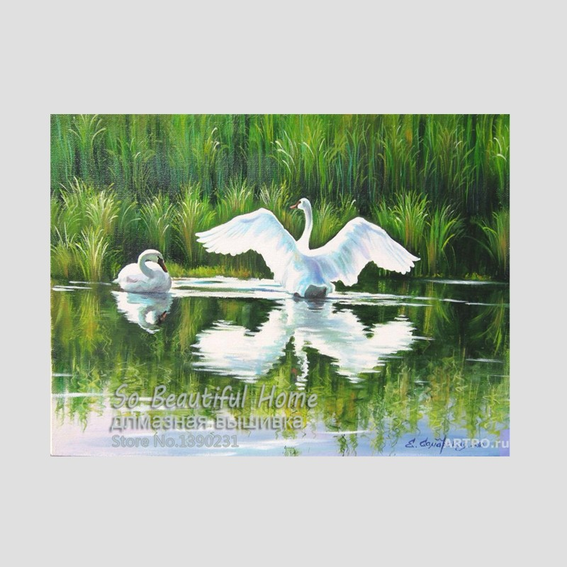 New Animal 5D Diy Diamond Painting Cross Stitch Kits Diamond Embroidery Rhinestones Mosaic Needlework Swan on river SH6813