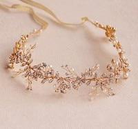 Stunning Gold Silver Rhinestone Wedding Hair Vine Accessories Handmade Bridal Headband Pearl Headpiece
