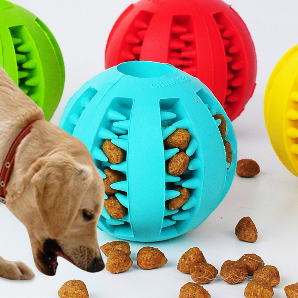 Rubber Clean Teeth Dog Feeders3.01 1pc Pet Dog Chew Toy Food Dispenser Ball Bite-Resistant Natural image