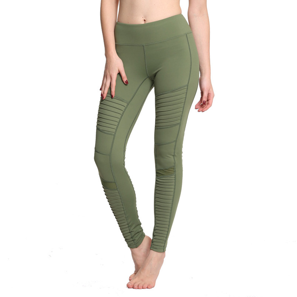2017-New-Green-Moto-Yoga-Leggings-Mesh-Patchwork-Yoga-Pants-for-Women-High-Waist-Sports-Pants