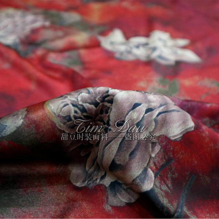 150cm heavyweight printed fabric chinese retro high imitation silk digital print scarf dress fabric material wholesale cloth in Fabric from Home Garden