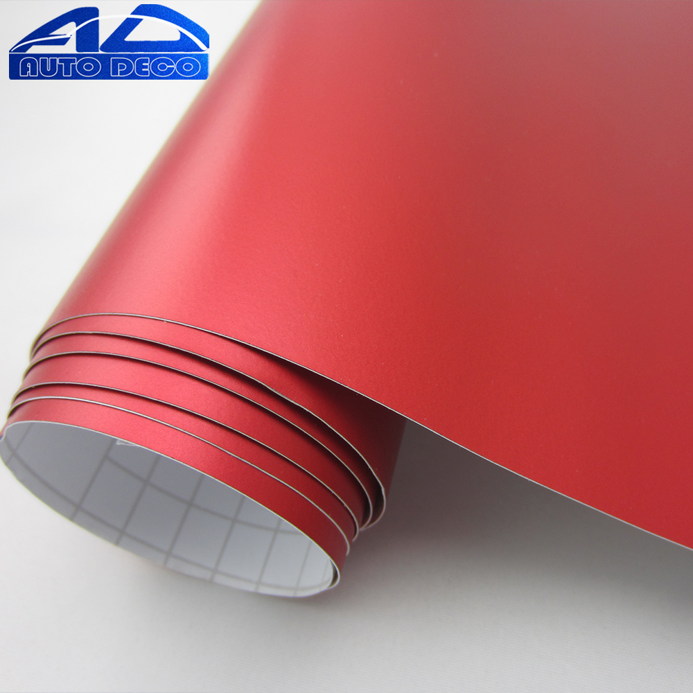 Hot-sale Matallic Red Matte Chrome Matt Vinyl For Car Wrapping Diy Styling Sticker Film FedEx Free Shipping size:1.52*20m/roll quality guarantee silver chrome vinyl film for car wrapping sticker with air bubble free 20m roll