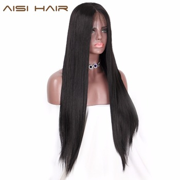 AISI HAIR Long Black Wig Straight Synthetic Lace Front Wigs for  Women Natural Color Heat Resistant Futura Hair wignee hand made front ombre color long blonde synthetic wigs for black white women heat resistant middle part cosplay hair wig