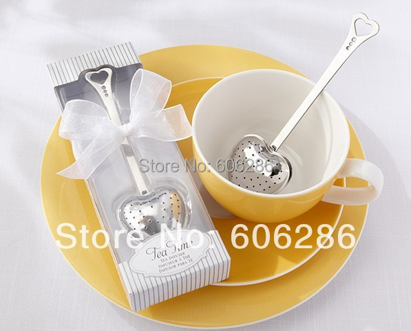 100pcs/lot Stainless steel heart shape tea infuser with white gift box tea party supplies wedding favors and gifts