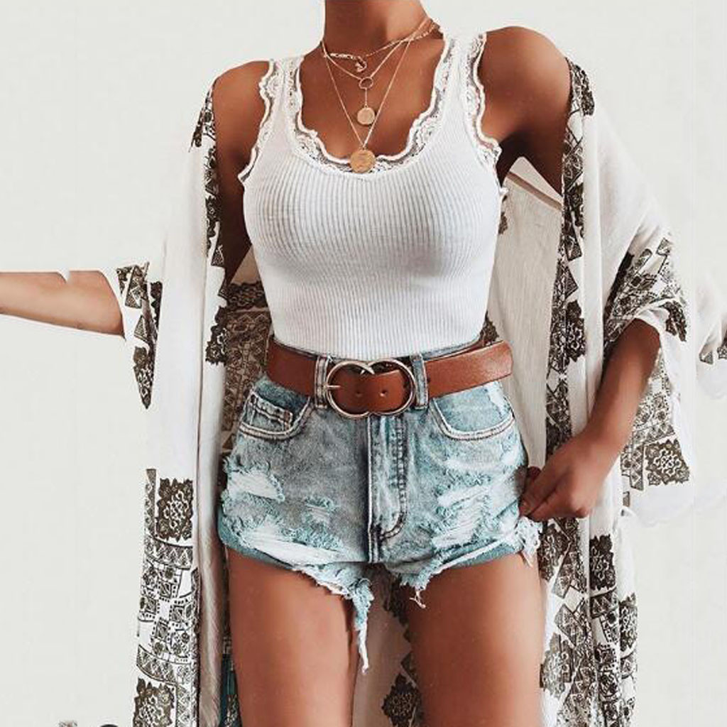 Feitong Summer Women's Bodycon   Tops   Wide Sexy Fashion Pure Lace Sleeveless Vest   Tank     Top   Beach Sport Regular Fit 2019   Tops