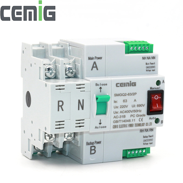 $ US $25.46 ATS Dual-Power Automatic Transfer Switch SMGQ2-63/2P Circuit Breaker MCB AC 230V 16A to 63A Household 35mm Rail Installation