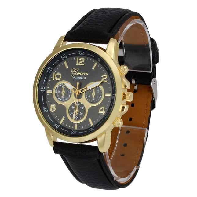 スプレンディッド高級電子時計ユニセックスカジュアルジュネーブフェイクレザー石英アナログ腕時計腕時計