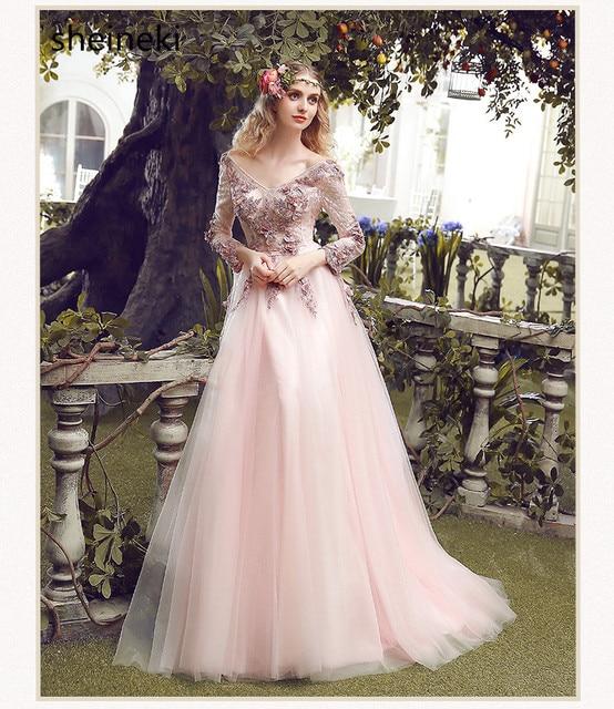 33b0546ca22 Vintage Pas Cher Rose Dentelle Appliques Longue Robe De Soirée Mariée Doux  à manches longues Plancher
