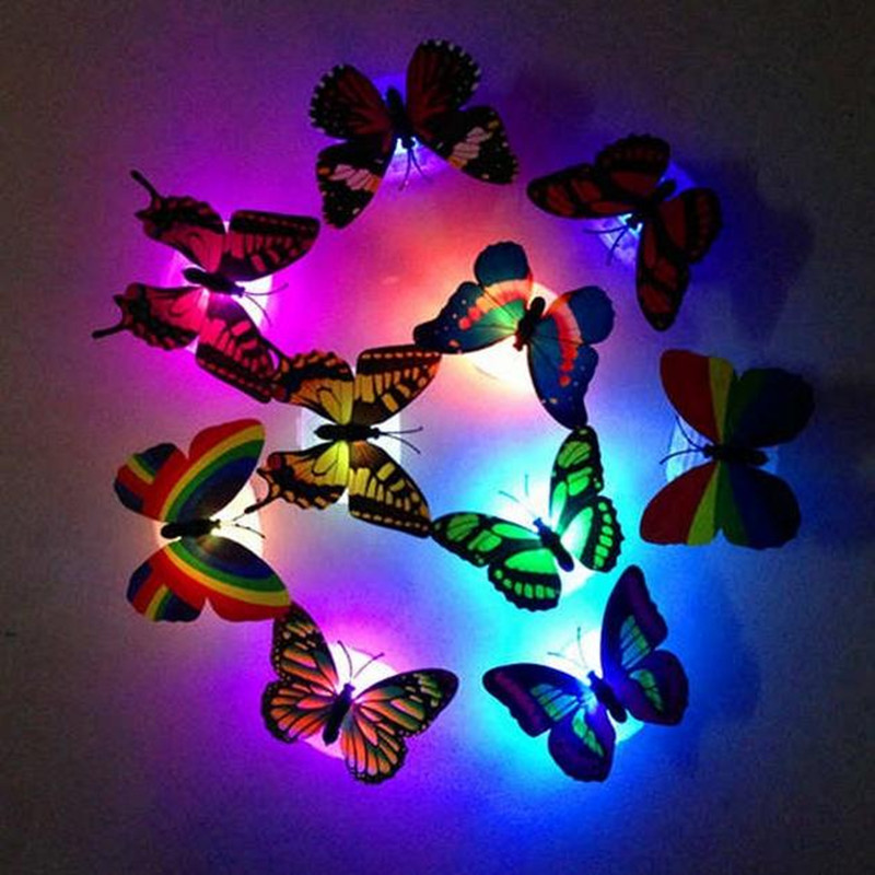 LED Light Glowing Butterfly Night Lights Colorful Paste Led Night Light Decoration Light Use Home Holiday Party