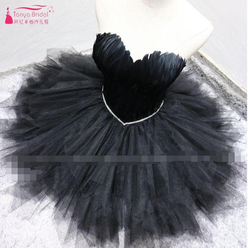 Черные короткие вечерние платья перо Тюль Пышные пикантные Клубные Танцы вечерние платья Праздничное платье Grauduation платье ZHM020