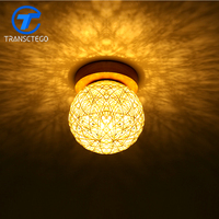 Ceiling Lamp Wood Rattan Weave Lamps For Living Room Bedroom Balcony Ceiling Light
