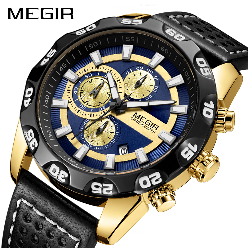 Mens Watches Top Brand Luxury MEGIR Chronograph Sport Quartz Watch Men Clock Leather Wristwatches Relogio Masculino Reloj Hombre цена
