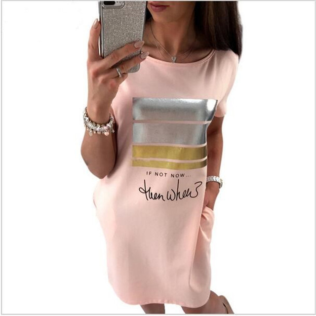 2018 новые летние модные женские туфли Повседневное милый короткий рукав письмо печати Bronzing Платья для женщин свободные плюс Размеры Длинные футболки платье Vestido