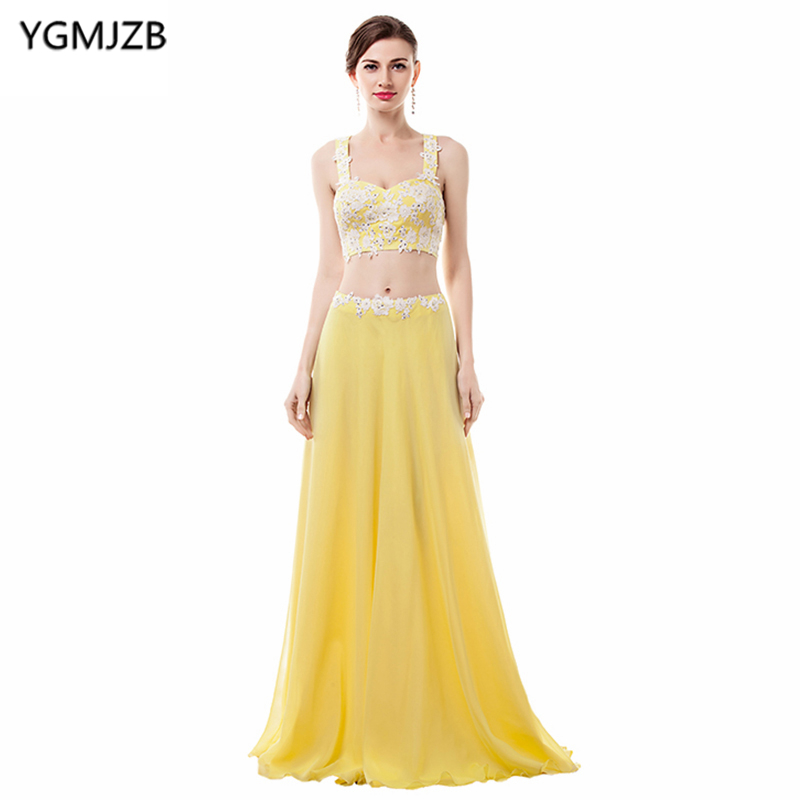 Yellow Evening Dresses Long 2018 A Line Sweetheart Sequined Lace ...