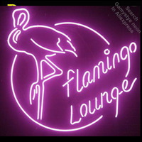 Flamingo Lounge Neon Sign light Neon Bulbsign Signage Vintage neon signs Real Glass Tube Handcrafted Beer bar pub light up Sign