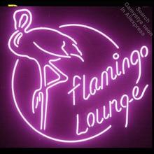 Фламинго Lounge неоновая вывеска неоновый свет Bulbsign табло Винтаж неоновые вывески реального Стекло трубка ручной работы Пивной бар pub свет вверх знак
