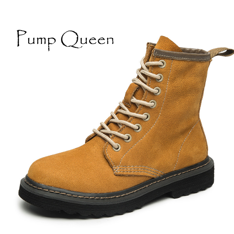 Women Shoes Autumn 2017 Martin Boots Lace-Up Round Toe Basic Shoes Woman Plus Size 44 Yellow Black Khaki 3 Colors Fashion boots round up 1 2 3