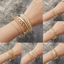 4pcs 6pcs Set Ethnic India Gold Color Bangles Bracelets For Women Big Circle Metal Wire Africa Bridal Wedding Bangle Jewelry