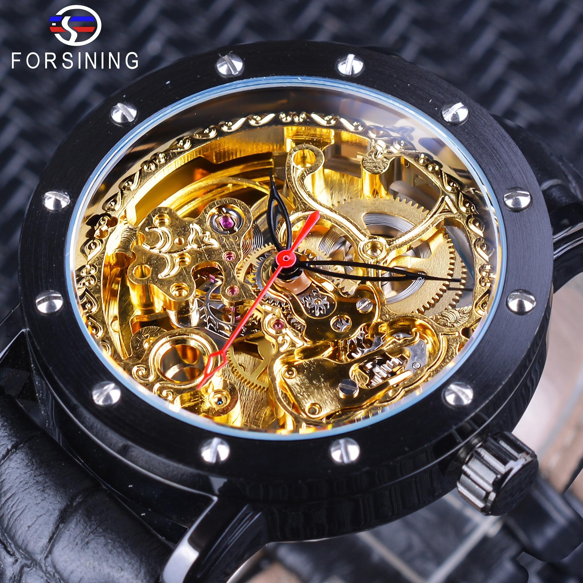 a83789bdee5 Forsining Real Flor Escultura Engrenagem Movimento de Ouro Preto  Transparente Mecânico Dos Homens de Couro Genuíno