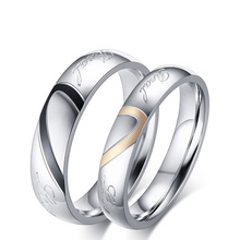 Hot salle Never Fade Size 4-15 Fashion Titanium Steel Silver Color Real Love Jewelry Engravable Women & Men Wedding Couple Rings