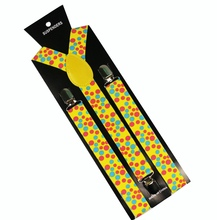 Winfox Fashion 2.5cm Wide Adjustable Clip-on Y-Back Yellow Polka Dot suspenders For Womens Mens